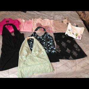 Women's 9 pc shirt lot sz M/L name brand tags